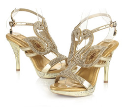 Wholesale Cheap Bridal Shoes Crystals - 2018 Fashion Stone Sparkly Wedding Shoes Platform Bridal Evening Prom Party Shoes for Women Crystal High-heeled Pumps Summer Slides Cheap