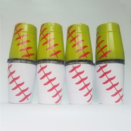 Wholesale Lid Straw - 9oz Tumblers Baseball wine glasses Stainless Steel Cups Travel Vehicle Beer Mug non-Vacuum mugs with straws lids Kids cups In Stock