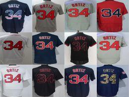 Wholesale Best David - Newest Boston Mens #34 David Ortiz Jersey White Blue Red Grey Black Embroidery Baseball Jerseys Best Quality Cool Flex Base Jerseys