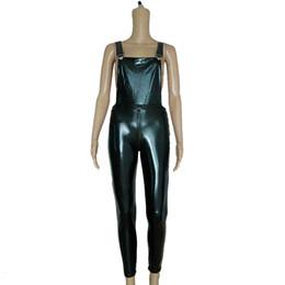 Одежда для пвх онлайн-Черный комбинезон из искусственной кожи для женщин виниловый комбинезон сексуальный пвх боди костюм латекс эротическая одежда