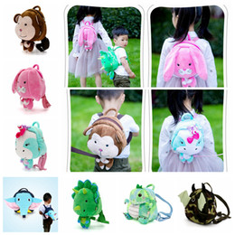 kids Anti-lost Animals school bag Rabbit monkey dinosaur backpacks safety cartoon  kindergarten Elephant Baby Shoulder bag 7 styles AAA485 74ec29a00cc66