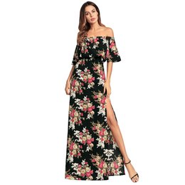 Wholesale Hot Dinner Dresses - 2018 Hot fashion spring and summer new printing sexy strapless dinner dress long floral dress Free Shipping