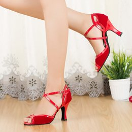Wholesale Salsa Dance High Heels Shoes - Sandals Dance Latin Shoes Women Adult Ladies high heels 5cm Tango Ballroom Salsa Dancing Shoes Red Black Dance Sandals 8cm Size 33