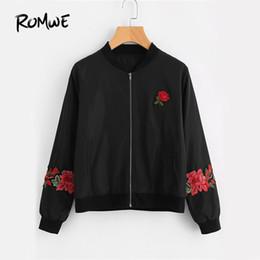 Wholesale Rose Zip - ROMWE Embroidery Rose Black Bomber Jacket Women Zip Up Long Sleeve Patch Autumn Coats 2017 Fashion Vintage Stand Collar Jacket