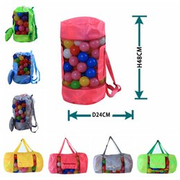 Wholesale Child S Toys - Kids Beach Toys Receive Bag Folding Mesh Sandboxes 24*48cm Child Sandpit Storage Shell Net Sand Away Beach Mesh Pouch Bag OOA4933
