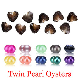 Wholesale Round Akoya Pearls - Akoya Twins Pearl Oyster 2018 Round 6-8mm 20 mix Colors Freshwater natural Cultured in Fresh Oyster Pearl Mussel Farm Supply wholesale