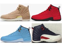 Yeni 12 12 s Vachetta Tan Buğday Erkekler Kadınlar Basketbol Ayakkabı boğalar Kırmızı UNC Üniversitesi Mavi Koleji Donanma Sneakers Ile Yüksek Kalite kutu cheap college shoes women nereden üniversite ayakkabıları kadınlar tedarikçiler