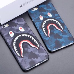 Wholesale Plastic Shark - Fashion 3D Cartoon camouflage shark Phone Case for Iphone X iphone 8 7 6 6S plus 5S defender case Frosted PC protector case