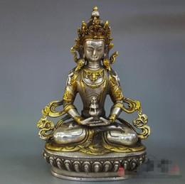 buda de bronze antigo Desconto Puro latão de cobre banhado a prata mãe ornamento, mobiliário de casa de Buda da casa, maus espíritos, presentes decorativos, antiguidades.