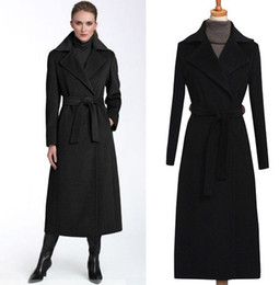 Wholesale Collar Belted Coat - 2017 High street fashion women black winter jacket long cashmere coat big size turn-down collar slim long overcoat wool jacket