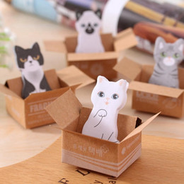 Wholesale Cute Cat Bookmarks - 4 pcs Cute Cartoon cat Memo Pads School Supplies Post It Notebooks Bookmark Book Book Writing Stationery Planner Sticker Note