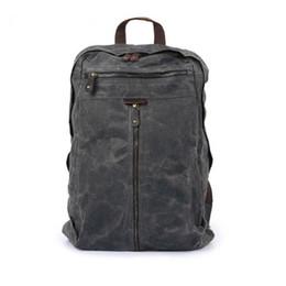 Wholesale waxed backpack - 5pcs Vintage Genuine Leather Canvas Rucksack Backpack Retro Oil Wax Waterproof Outdoor Travel Luggage Bag Satchel Schoolbag