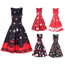 Abiti vintage autunno inverno Natale Party Dress Donna Retro Hepburn stile O-collo senza maniche Swing abiti da festa femminile da