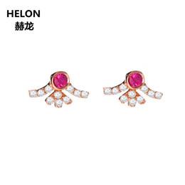2019 orecchini di diamanti rubino Orecchini donna con diamanti naturali 14k in oro rosa massiccio Orecchini con rubino naturale gioielleria classica sconti orecchini di diamanti rubino