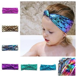 Wholesale fishing for kids - Baby Girls Sequins Mermaid Headband Fish Scales Colorful Hair Band Tie Knot Hairbands For Baby Party Kids Shining Bowknot decoration KHA428