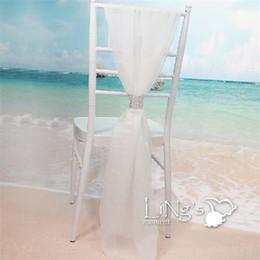 sedie a sdraio in raso bianco Sconti Spandex Chiffon Chairs Bands With Buckle White Slub Chair Cover Sash Party Supplies Vendita calda 7 5dm C R