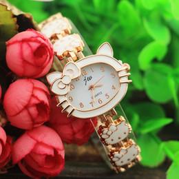 Relógios a quartzo on-line-Frete grátis, gatos caso de design e banda, chapeamento de ouro, display analógico, jw moda mulher senhora pulseira estilo relógios de quartzo