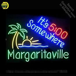 2019 signos margaritaville Letrero de Neón para su candado de 5 O'C En algún lugar Letrero de Neon Tube de Margaritaville Letreros artesanales de Palm Tree Decoran el bar de cerveza rebajas signos margaritaville