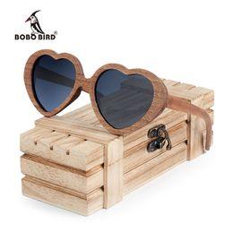 Wholesale Heart Shaped Wooden - BOBO BIRD Polar Retro Black Wood Sunglasses Women Heart-shaped Sun glasses Men as Gift Vingtage Drop Ship C-AG025a Dropshipping