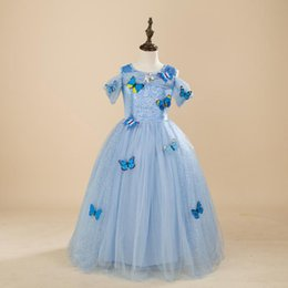 Wholesale Baby Cinderella Dresses - Snowflake Cinderella Dress Fancy Costumes for Kids Blue Gown Halloween Baby Girl Butterfly Dress 2018 Party Wedding Dresses