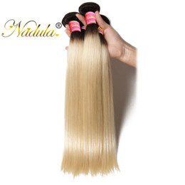Wholesale Cheap Ombre Human Hair - Nadula T1B 613 Indian Straight Hair Bundles Dark Roots Ombre Blonde Bundles Human Hair Weft 3PCS Remy Human Hair Weave Cheap Wholesale