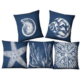 Cuscini di corallo online-blu copriletto nautico corallo conchiglia cojines decorativos marino divano letto federa cuscino 45cm almofada di lino