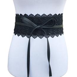 Ampie donne gialle cinture online-Cinghie elastiche larghe bianche del corsetto di giallo nero di Winfox cinture per le cinghie femminili del cinturino del pizzo delle donne