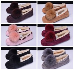 Wholesale Women Moccasin Boots - 2018 Casual Boots Women's Pom Pom Moccasin Slippers 1019015 Wine red Muti-color Kanye West Lady with Fur Warmer Hot Sale Cheap Sale