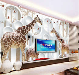Wholesale Vintage Animal Photos - Unique 3D View Giraffe Photo Wallpaper Cute Animal Wall Mural Art Wall Decor Paper Children's room Nursery Living Room Office Free Shipping
