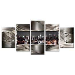Canada 5 Pièces Mur Art Peinture Contemporaine Ville Toile Peinture Résumé Images Géométrique Ville Nuit Vue Ville Oeuvre Murale Déco Sur Encadré cheap abstract night city painting Offre