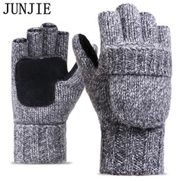 Wholesale Gloves Half Fingers Flip - 2017 Thick Male Fingerless Gloves Men Wool Winter Warm Exposed Finger Mittens Knitted Warm Flip Half Finger Gloves High Quality