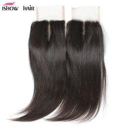 Wholesale Unprocessed Indian Lace Closure - 10A 4*4 Brazillian Virgin Straight Hair Lace Closure Free Shipping Unprocessed Brazilian Peruvian Indian Malaysian Virgin Human Hair CLosure