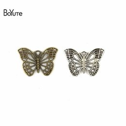 Wholesale Fashion Jewelry Parts Accessories - BoYuTe (50 Pieces Lot) 26*18MM Antique Bronze Silver Plated Butterfly Fashion Pendant Charms for Diy Necklace Jewelry Accessories Parts