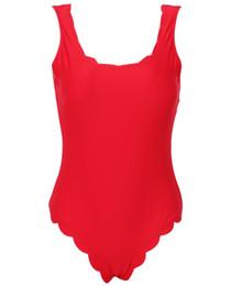 Trajes de baño chic online-2018 Sexy traje de baño de una pieza Push Up Swimwear Women Chic Solid festoneado traje de baño traje de baño Traje de baño Swimwear
