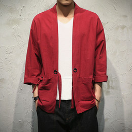 Wholesale Japanese Clothing Kimono - 2017 Men Outwear Jackets Kimono Japanese Clothes Men Thin Cardigan Kimono Coat Embroidery Jacket Male Outerwear Jacket Y315