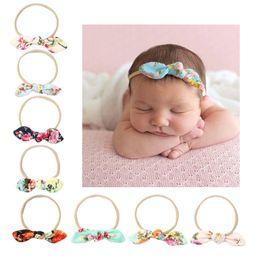 927dcacb128 Cute 8 Colors Baby Flower Headband Girls Nylon Bow Headwear Headbands Bunny  Ear Elastic Flower Headband Children Kids Hair Accessories Print