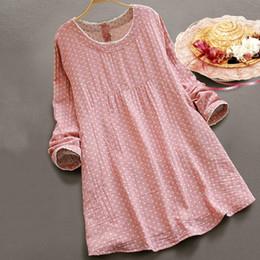 casual kleider baumwolle rosa mädchen Rabatt Mferlier Vintage Kleid Spitze O-Ausschnitt Langarm Dot Print Mori Mädchen Herbst Blau Rosa Baumwolle Leinen Casual Dress