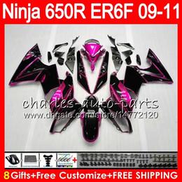 Carenados rosa negro online-Cuerpo para KAWASAKI NINJA 650R ER 6F ER-6F 2009 2010 2011 Kit 114HM.40 Ninja650R ER6 F 650 R ER6F 09 10 11 Moto Bodywork Pink black Fairing