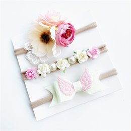 Wholesale Artificial Beads - 2018 Baby girl headband set Hair bow Summer Artificial Flowers Angel wing Beads Bohemia nylon hair accessories with gift card Wholesale