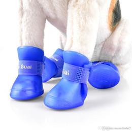 Wholesale Hot Dog Shoes - 2 Pair Environmental Harmless Durable Magic Tape Design Dog Cat Rain Shoe Snow-proof Boot Household Supplies Hot +B