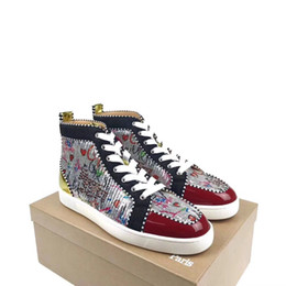 scarpe alte e alla moda Sconti Perfect Designer Elegante Graffiti High-top Red Bottom Sneakers Scarpe da uomo, Donna Skateboarding Scarpe da sposa di lusso Party EU: 35-46