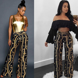 Wholesale cotton trouser fabric - Smart Gold Chain Printing Long Women Pants High Waist Straight Full Length Lady Trousers in Spring and Summer 2018 High Quality Fabric