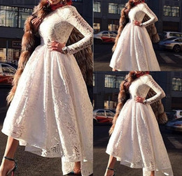 Wholesale High Neck Lace Dress Party - Elegant dubai evening party dresses A Line Evening Dresses vestidos de noiva Scoop Neck Long Sleeves Lace Appliques Formal Prom Gowns