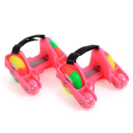 Wholesale Roller Skate Shoes Kids - 1 Pair Children Roller Shoes Skates 4 Fire Wheels Small Motor Flash Shoes Roller Portable For Kids Boy and Girl