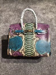 Canada 2018 luxe BK 100% Python sacs à main en peau 7A meilleure qualité célèbre designer femmes véritable sac à bandoulière en cuir impression fourre-tout sac 30cm Offre