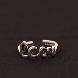 Original encanto ajustable joyería moda plata de ley 925 anillo Punk amor pareja cartas mujer anillos abiertos china directa al por mayor desde fabricantes