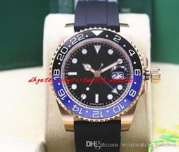 Azul de cerámica rosa online-Reloj de pulsera de lujo 2018 NUEVO 18k Rose Gold BLACK / BLUE II 116710 Hombre Negro Rubber Pulsera Reloj de cerámica Relojes automáticos
