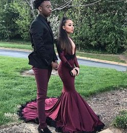Wholesale Evening Shirt Dresses - 2018 Sexy plus size long sleeves black girl african prom dresses mermaid black evening formal party gowns long length pageant lady wear