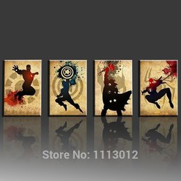 Wholesale More America - The Avengers! Iron man,Thor Captain America,Spiderman! Hand made Modern Abstract Oil Painting Marvel Comics Superhero Canvas Art