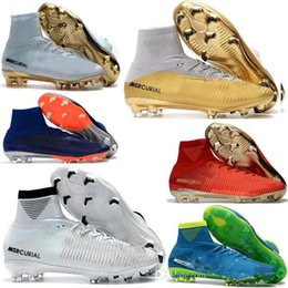 Wholesale Boys Shoes Youth - High Top Mens Kids Soccer Shoes Mercurial CR7 Superfly V FG Boys Football Boots Magista Obra 2 Women Youth Soccer Cleats Cristiano Ronaldo